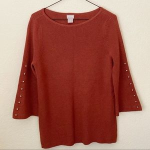 Chico's Bead Bell Sleeve Sweater